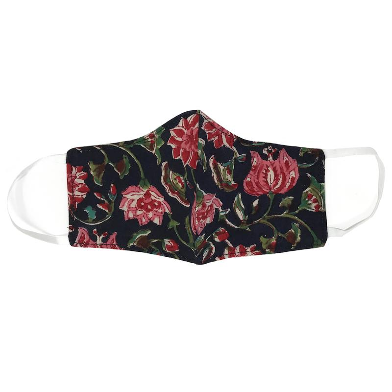 Adult Face Mask- Navy Floral