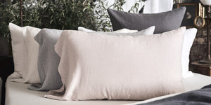 Vintage Linen Pillowcase - Mauve