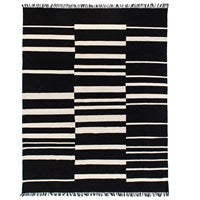 Offset Black Stripe Cotton Rug 8x10