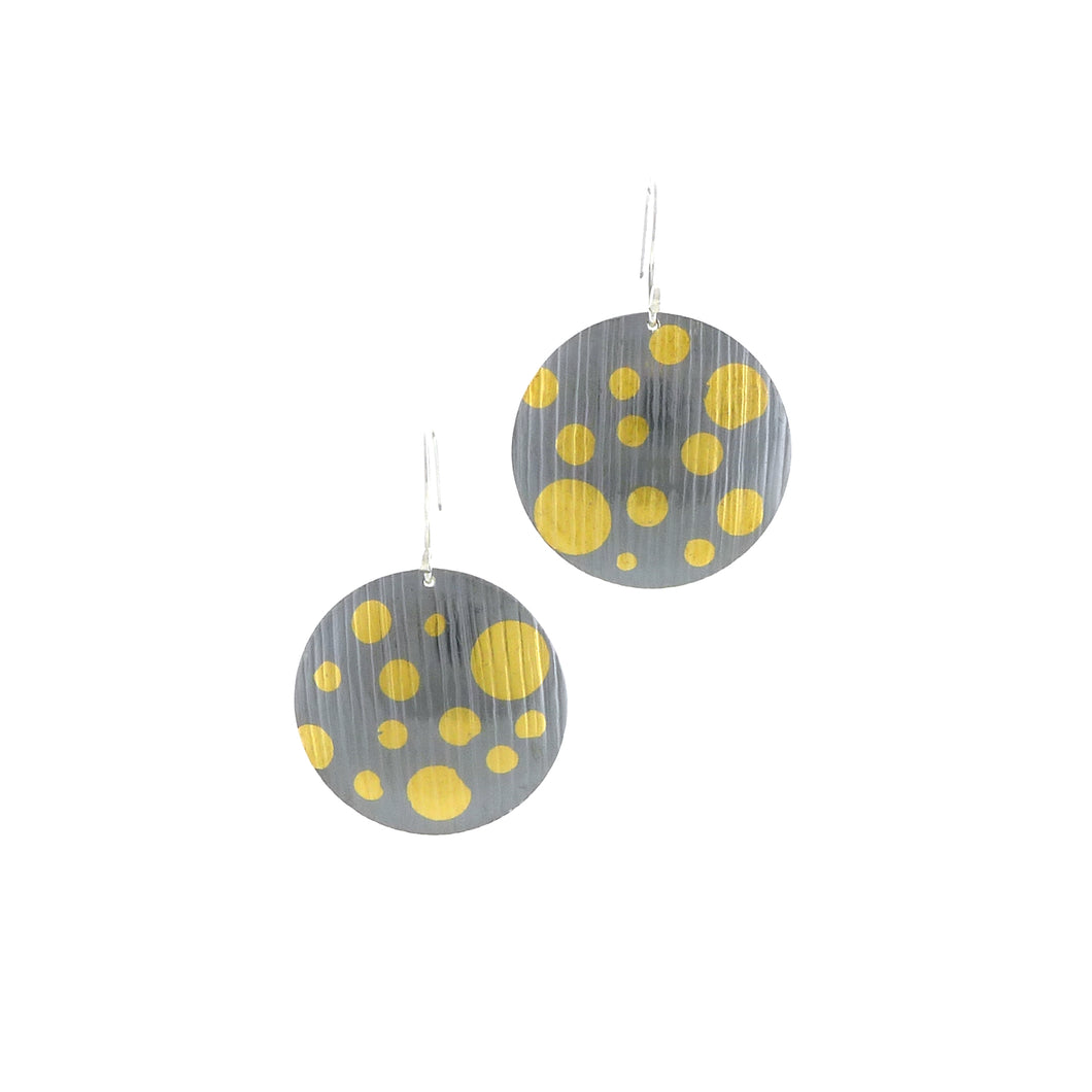 Gold Dots on Large Oxidized Silver Circle Earrings