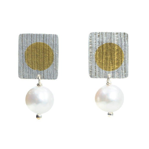 Gold Dot with Pearl Earrings