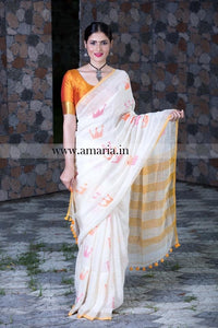 The QUEEN-Handloom linen saree with woven crown motif