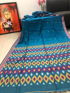 Modal cotton handloom saree with woven border and pallu geometric patterns- Amaria's inhouse design