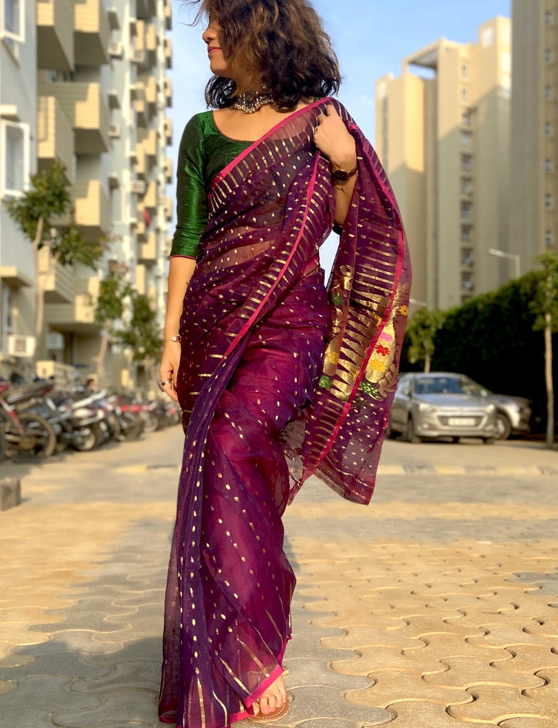 SILK COTTON DHAKAI JAMDANI SAREE