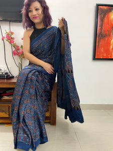 MODAL SILK Ajrakh NATURAL DYE INDIGO BASE
