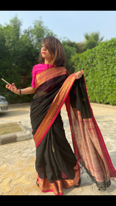 Rich zari pallu and border Linen saree