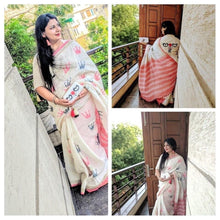 Load image into Gallery viewer, The QUEEN-Handloom linen saree with woven crown motif