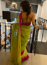 Load image into Gallery viewer, Ponduru charkha khadi with temple border with woven pallu