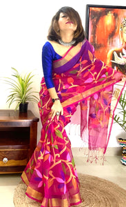 Muslin silk saree full jamdani floral woven on pallu