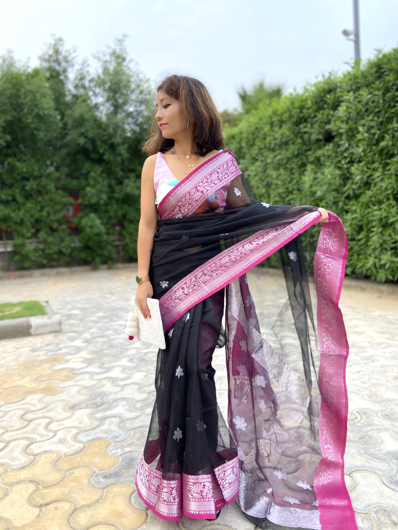 Rich zari pallu and border MUSLIN SILK saree