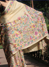 Load image into Gallery viewer, West bengal Kantha hand embroidery on Tussar silk