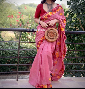 ONLY 5 meters length special price -Kashmir AARI  STITCH HANDLOOM COTTON SAREE