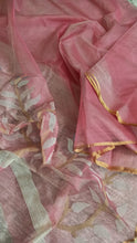 Load image into Gallery viewer, Muslin silk saree jamdani floral woven on pallu and border