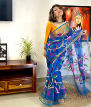 Load image into Gallery viewer, Muslin silk saree full jamdani floral woven on pallu