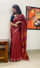 Load image into Gallery viewer, Modal cotton handloom saree with woven border and pallu geometric patterns- Amaria's inhouse design