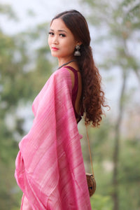 Office Wear Tussar Ghiccha Plain Saree