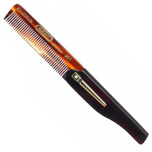 Kent 167mm (open length) Folding Pocket Comb with clip - Fine teeth.