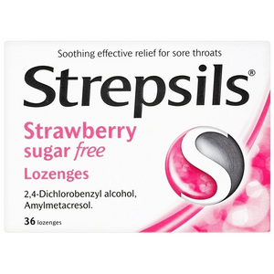 Strepsils Strawberry SugarFree Lozenges