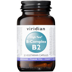 Viridian HIGH TWO Vitamin B2 with B-Complex Veg Caps 30
