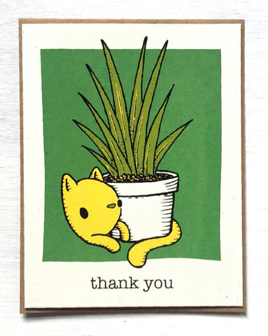 Cat + Plant - Thank You card