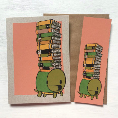 Card & Bookmark Set - Turtle with Books