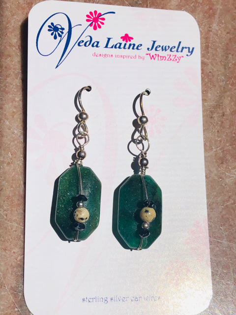 Earrings - Stone Aventurine Drops