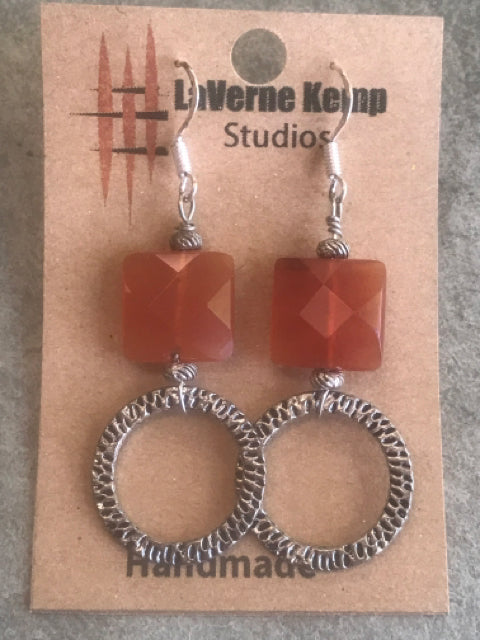 Earrings - Stone Carnelian with Circles