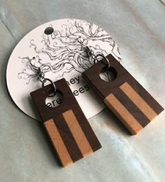 Earrings - Wood Striped