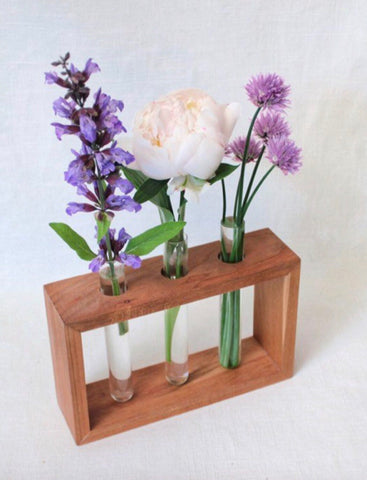 Test Tube Vase - Cherry Wood