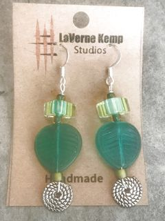 Earrings - Glass Leaf Drops