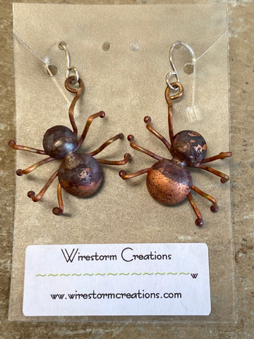 Earrings - Copper Spiders