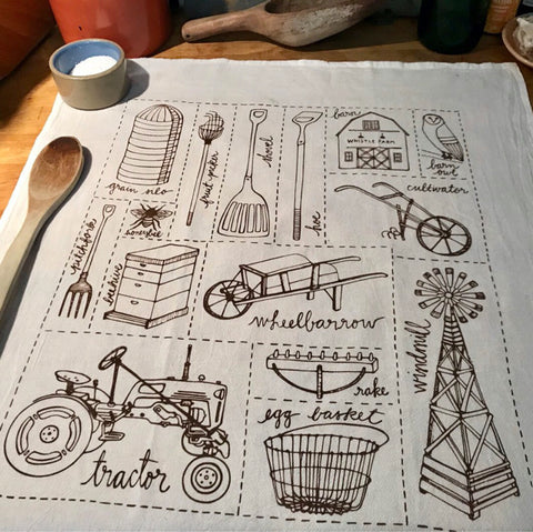 Tea Towel - Brown Farm