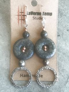 Earrings - Stone Donuts with Circles