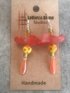 Earrings - Glass Flower Drops