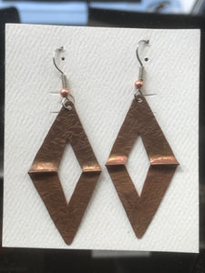 Earrings - Large Copper Triangles