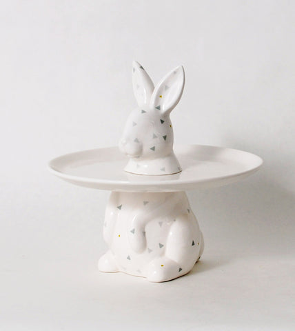 Rabbit Menagerie Ceramic Cake Plate