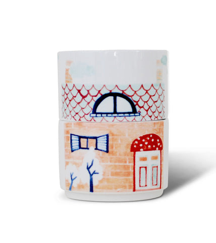 Bungalow House Stacking Mugs