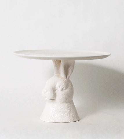 Rabbit White Cake Plate