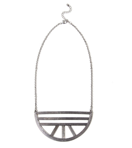 grooved-semi-circle-pendant-fashion-statement-necklace