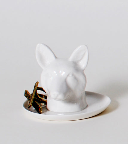 Fox Head Ceramic Ring Holder