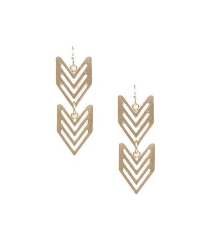 Cutout Hanging Arrowhead Earrings