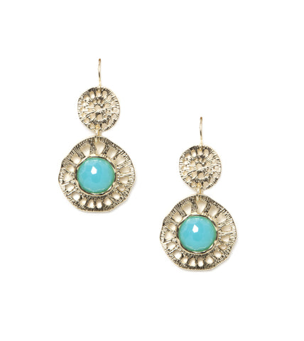 Candy Double Round Earrings - Turquoise