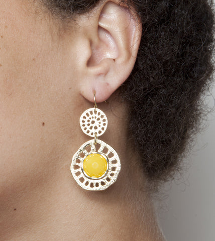 Candy Double Round Earrings - Lemon