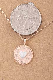 love pendent necklace in rose gold
