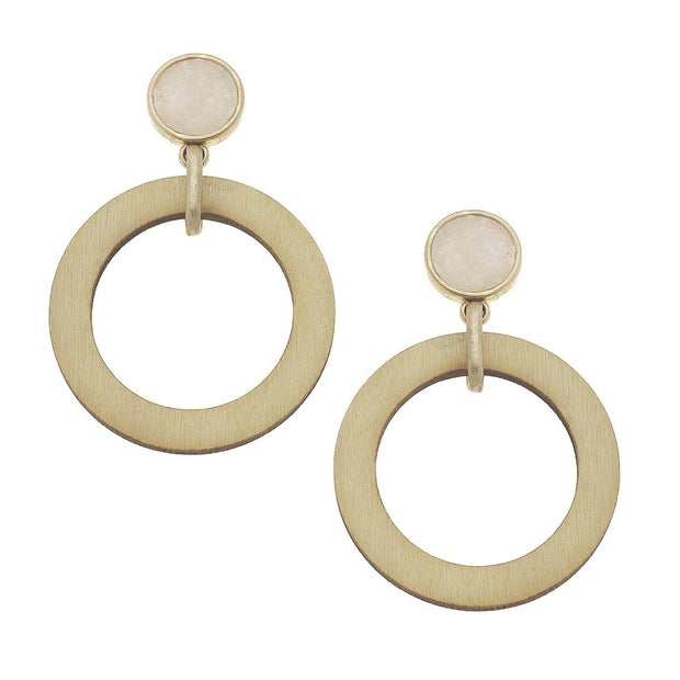 Regina Drop Earrings in Ivory Druzy