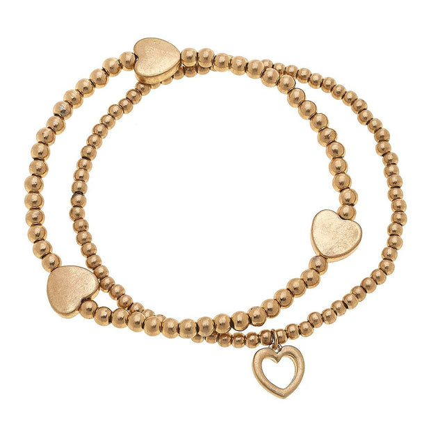 Kay Layered Sphere Bracelets In Worn Gold Hearts (Set of 2)