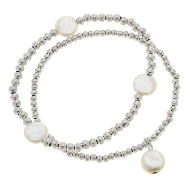 Ivy Layered Sphere Bracelets In Worn Silver Coin Pearls (Set of 2)