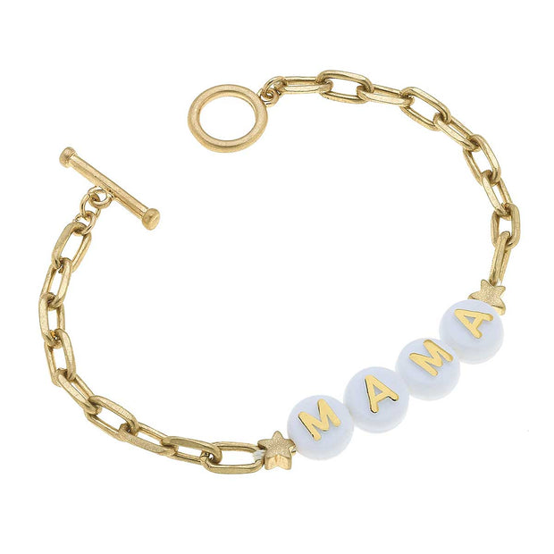 Mama Block Letter Paperclip Chain T-Bar Bracelet in Worn Gold