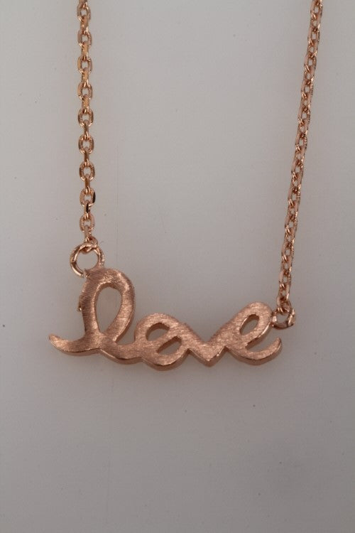 tiny love necklace in gold
