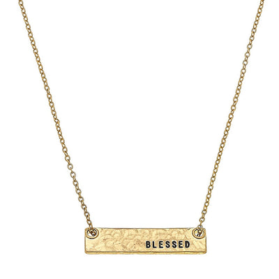 Blessed Bar Necklace In Worn Gold